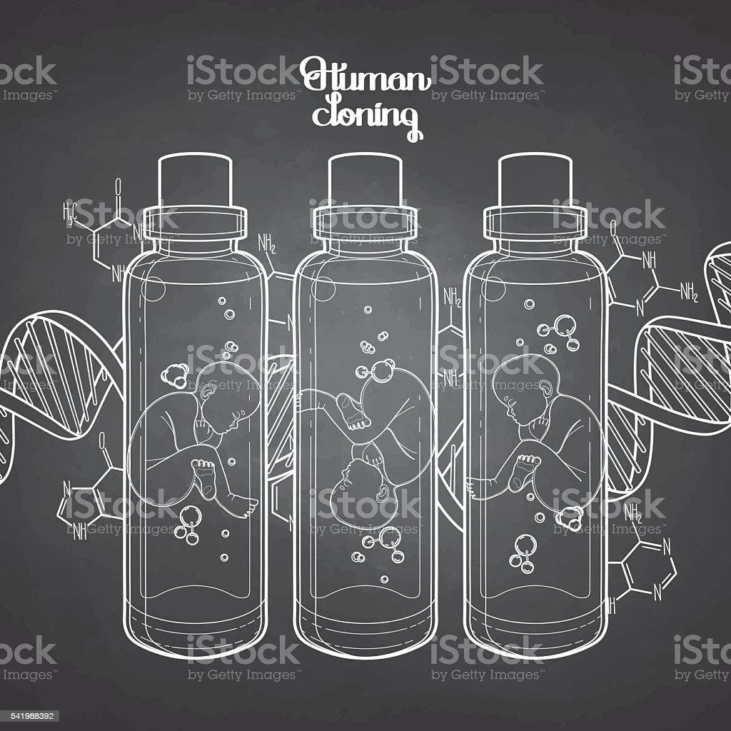 Graphic fetus in the glass bottle vector art illustration