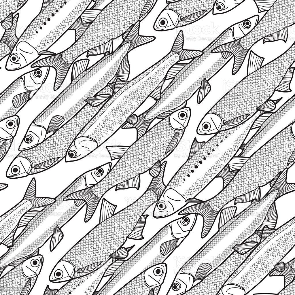 Gráfico pescado patrón - ilustración de arte vectorial