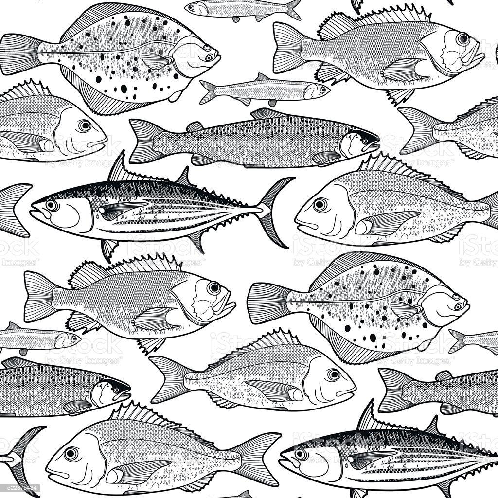 Gráfico Pescado Patrón Illustracion Libre de Derechos 522375434   iStock