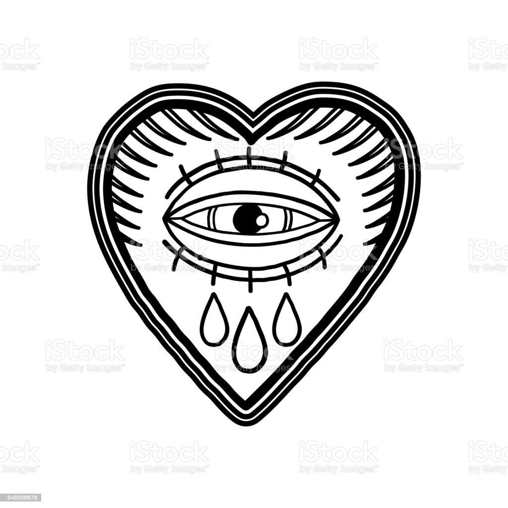 Ilustración De Gráfico Corazón Llameante Con Ojos Llorosos Y Más