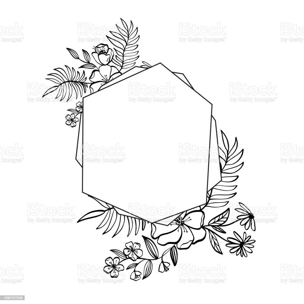 Grafische Blumen Geometrie Rahmen Vektor Blätter Und Blüten In ...