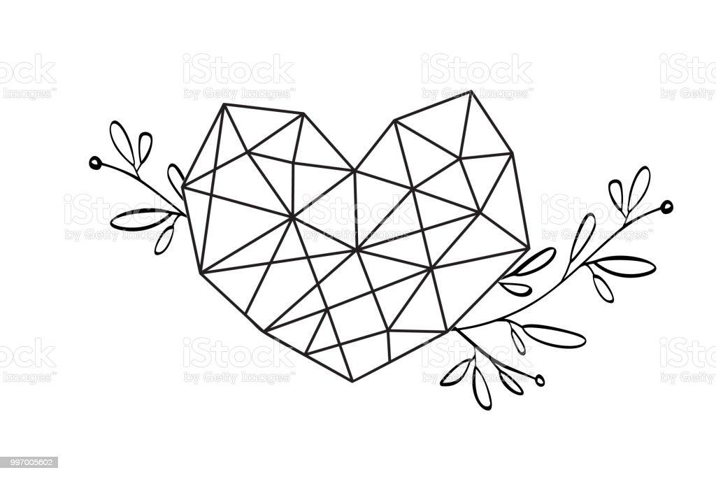 Grafische Blumen Geometrie Liebe Herz Rahmen Vektor Blätter Und ...