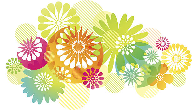 Graphic Flowers Background vector art illustration