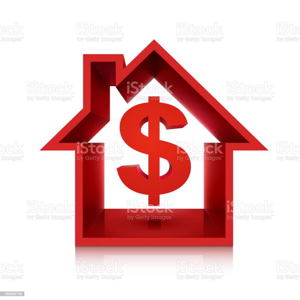graphic for real estate business, 3d dollar symbol vector art illustration