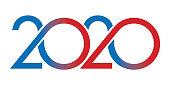 Carte de vœux au graphisme original pour présenter l'année 2020. Elle montre une succession de courbes de couleur rouge et bleue sur un fond blanc.