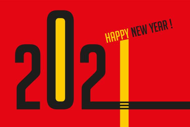 Graphic greeting card based on straight lines to symbolize the design and present the year 2021. Carte de vœux 2021 pour souhaiter une bonne année avec un graphisme original qui symbolise l'esprit de la création et de conception. graphisme stock illustrations