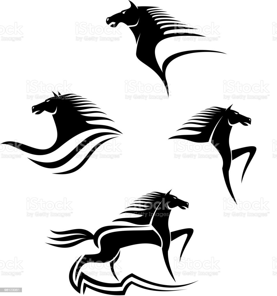 Graphic horses in black on a white background royalty-free graphic horses in black on a white background stock vector art & more images of animal head