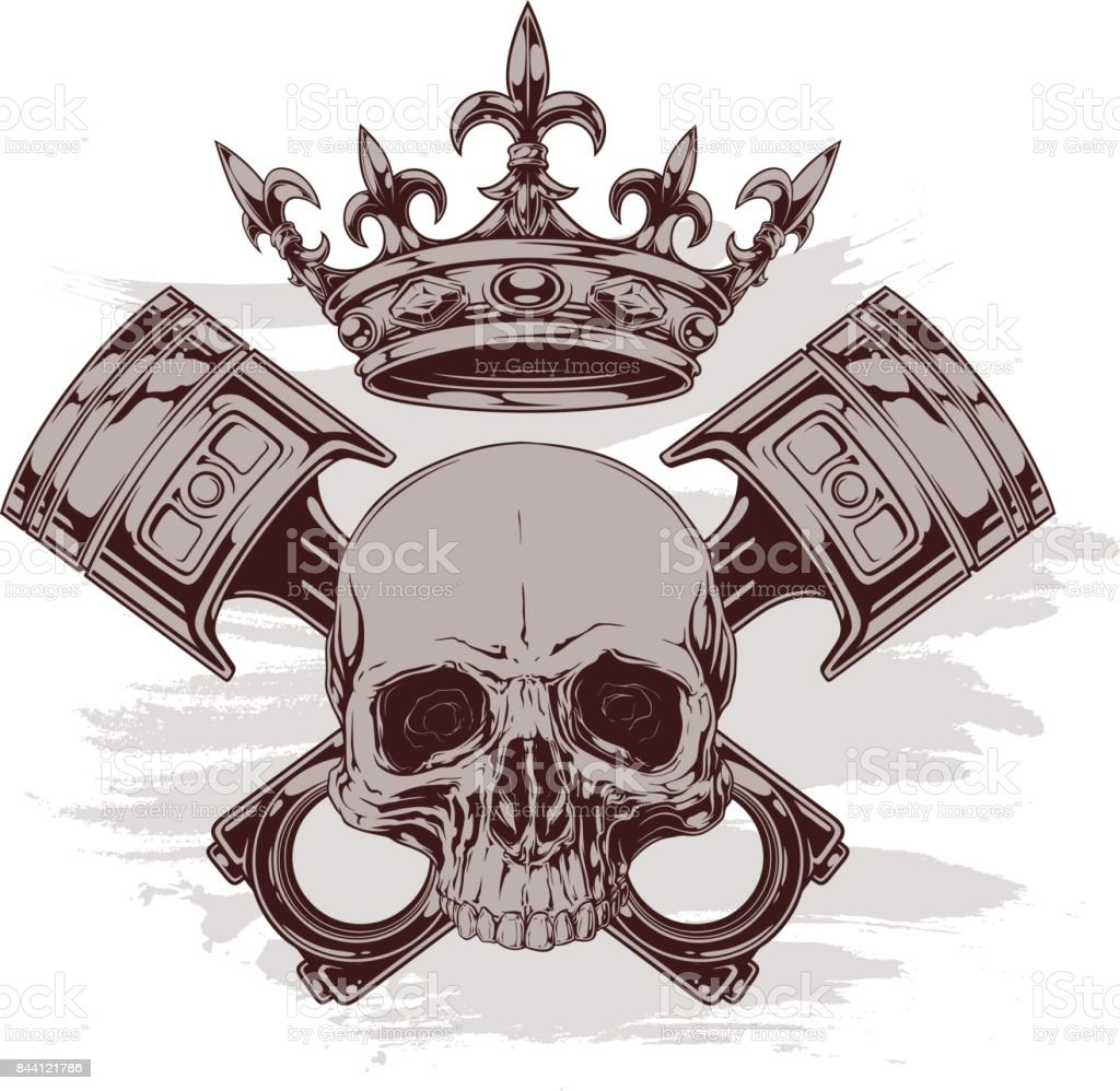 74561e8aa8337 Graphic human skull with crown and crossed pistons royalty-free graphic  human skull with crown