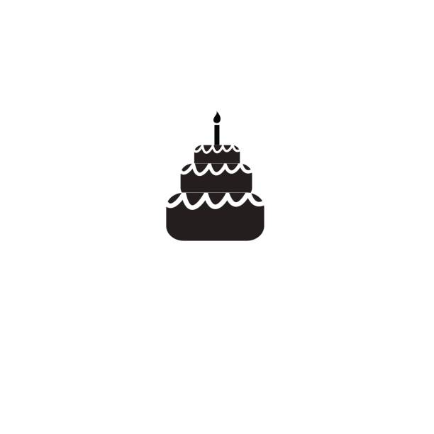 Royalty Free Birthday Cake Outline Silhouette Clip Art Vector