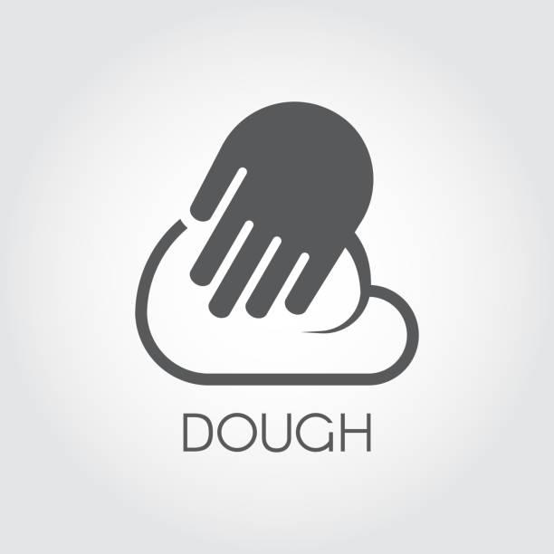 illustrazioni stock, clip art, cartoni animati e icone di tendenza di graphic icon hands knead dough in flat design. preparation ingredient for pasta, pizza, bread, baked and other dishes - impastare