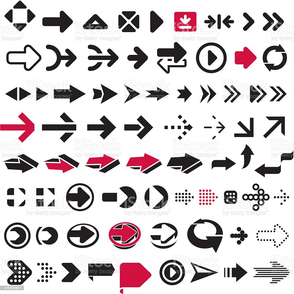 Graphic icons of different arrows royalty-free graphic icons of different arrows stock vector art & more images of arrow symbol