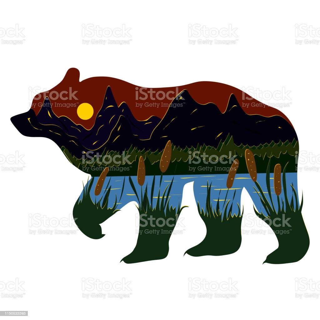 Graphic Illustration In The Form Of A Silhouette Of A Bear And Nature Inside Evening Landscape Of The Lake Mountains And Reeds Illustration For Tshirts Trenches Or Covers Stock Illustration Download
