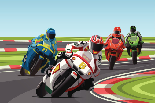 Graphic illustration of 4 motorcycle racers on a track