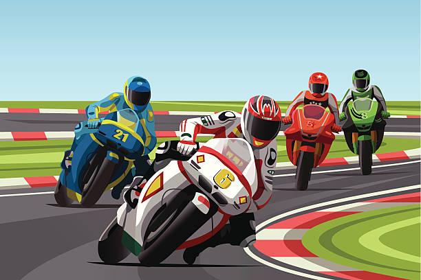 Graphic illustration of 4 motorcycle racers on a track vector art illustration