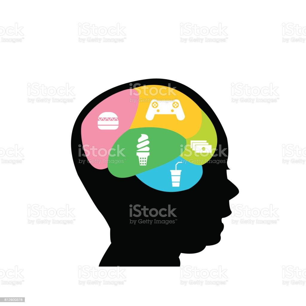 Gráfico ilustração de uma cabeça de menino com o ícone do jogo e junk food do cérebro - ilustração de arte em vetor