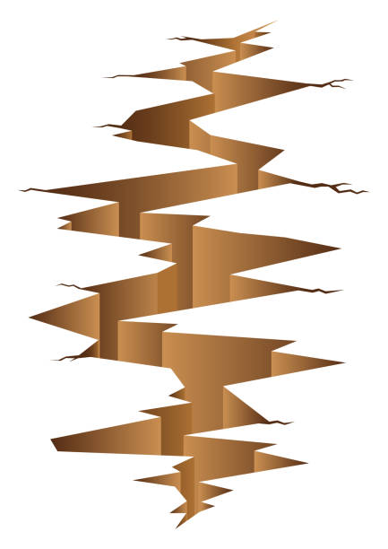 Graphic Illustration Of Crack Land Graphic illustration of crack land, disaster, earthquake concept. ravine stock illustrations