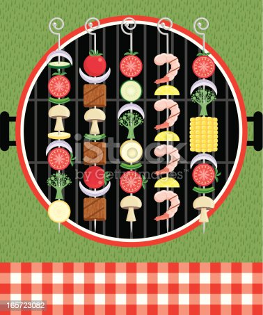 Graphic illustration of kabobs on the grill at a picnic
