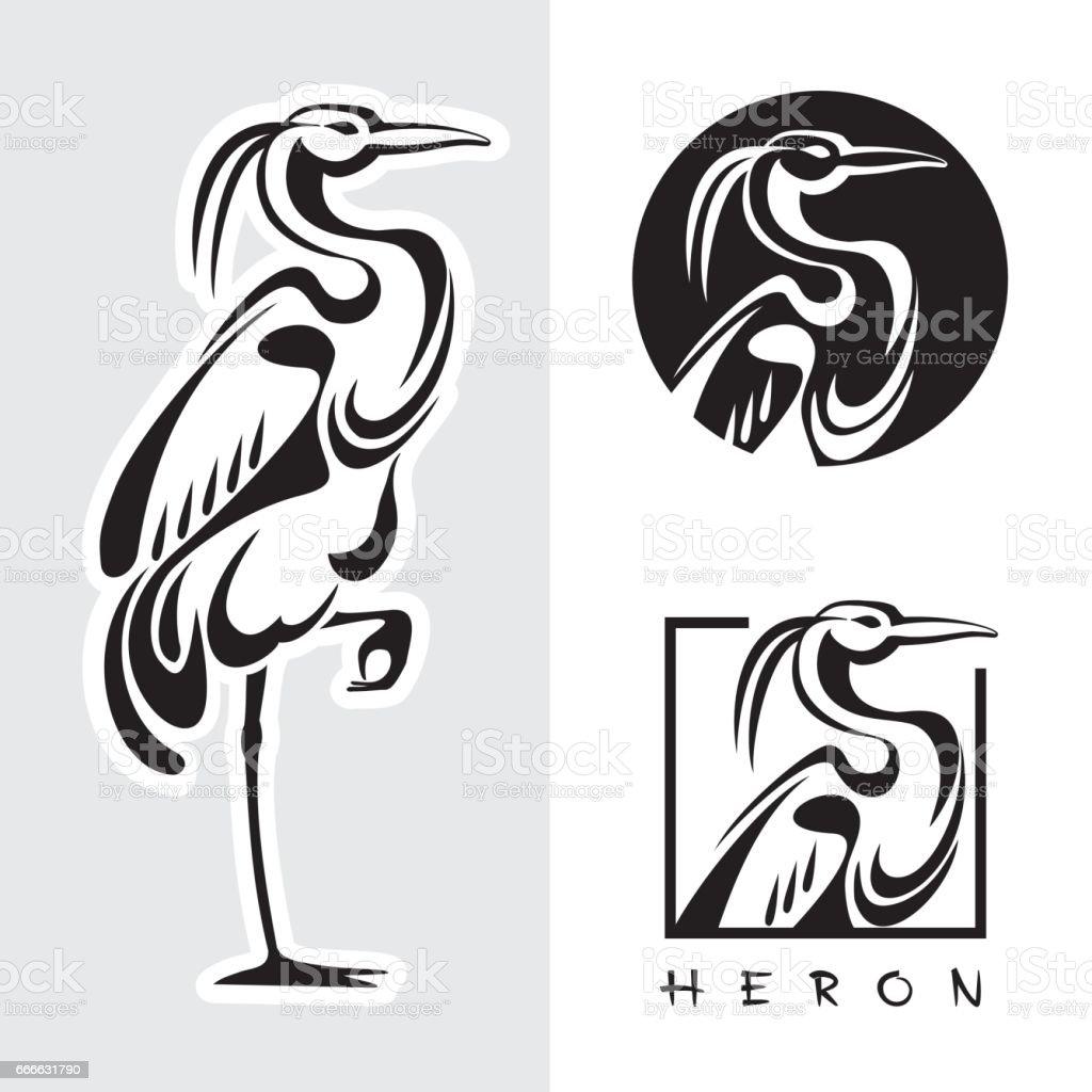 Graphic illustration of single bird - one heron. vector art illustration