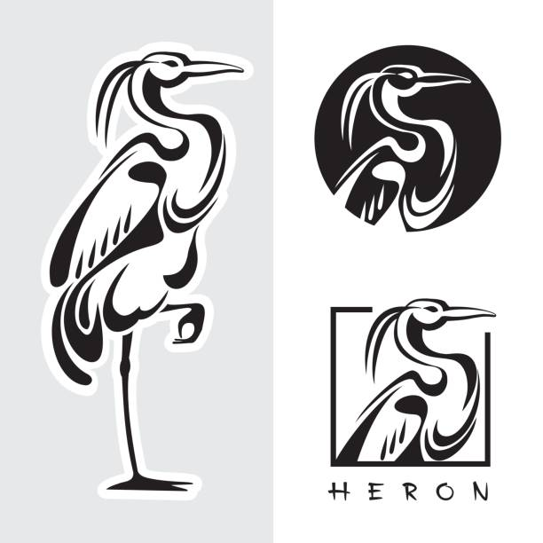Graphic illustration of single bird - one heron. Vector image side view in black and white colors. heron stock illustrations