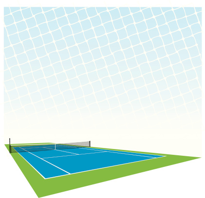 Graphic illustration of tennis court and net