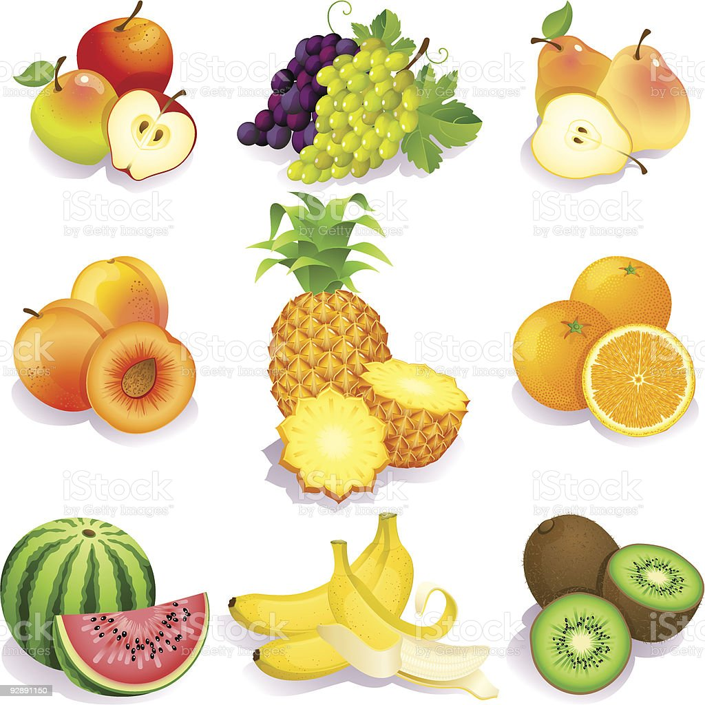 Graphic illustration of various fruits vector art illustration