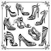 Graphic abstract decorative shoes (footwear)-set(kit). Suitable for invitation, flyer, sticker, poster, banner, card,label, cover, web. Coloring book page. Vector illustration.