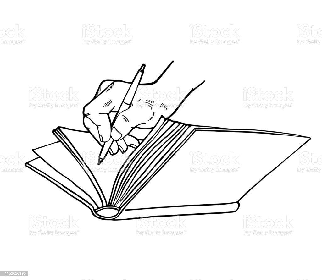 Illustration Graphique Avec Livre Ouvert Main Et Stylo