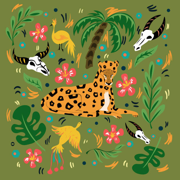 Graphic illustration with ornament and symbol. Flexible and beautiful leopard, birds of paradise and green jungle. Illustration for cards, t-shirts, covers for notebooks Graphic illustration with ornament and symbol. Flexible and beautiful leopard, birds of paradise and green jungle. Illustration for cards, t-shirts, covers for notebooks. bird of paradise plant stock illustrations