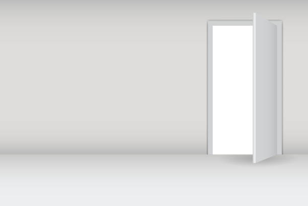 Graphic image of a door being opened Open white door on a white wall vector illustration. EPS10. Contains transparent objects used for shadows drawing, glare and background. Background to give the gloss. vehicle door stock illustrations
