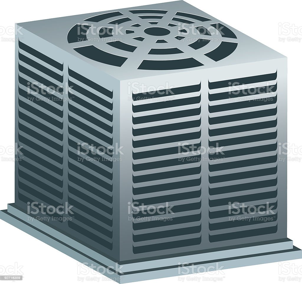 Graphic image of a gray air conditioner unit on white vector art illustration