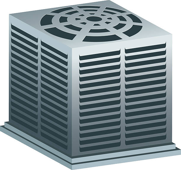 graphic image of a gray air conditioner unit on white - pervane stock illustrations