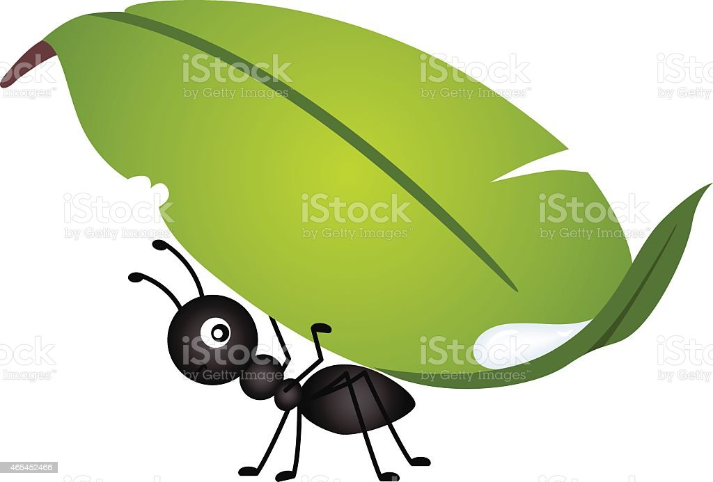 Graphic image of an ant carrying a leaf vector art illustration