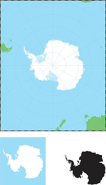 graphic image of antarctica in a map - antarctica maps stock illustrations, clip art, cartoons, & icons