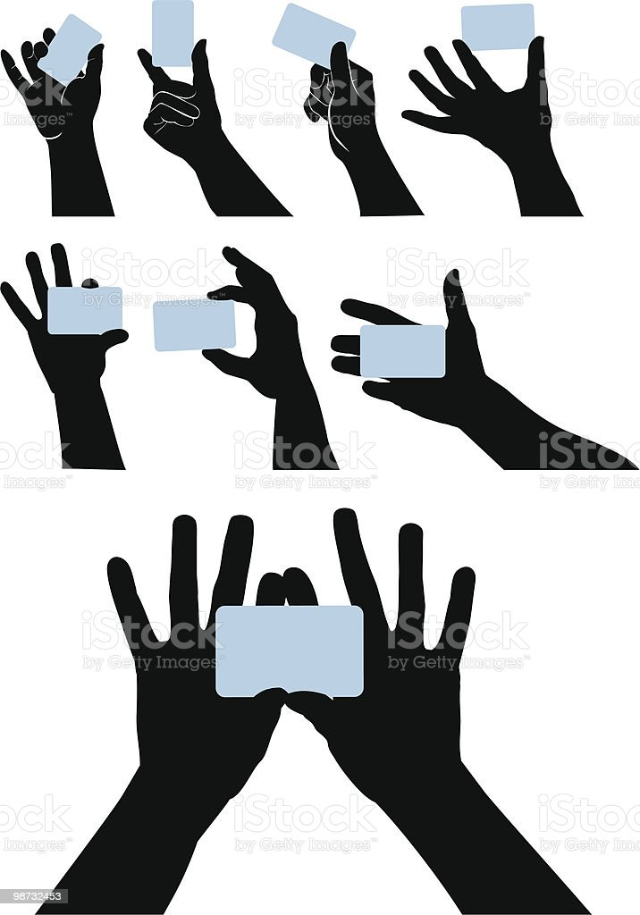Graphic image of black hands holding blue card on white 免版稅 graphic image of black hands holding blue card on white 向量插圖及更多 人手 圖片