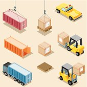 Isometric, Freight Transportation on golden background, made in adobe Illustrator (vector)