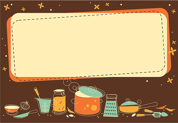 Graphic image of empty text box and kitchen icons vector art illustration