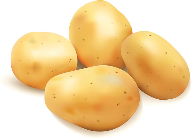 vier kartoffeln - kartoffeln stock-grafiken, -clipart, -cartoons und -symbole