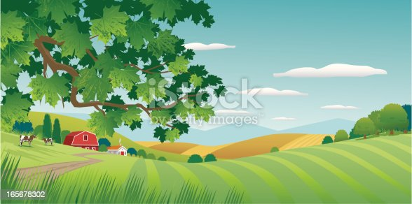 Summer Countryside scene with Maple tree in foreground. Road, fields, farm house and red barn, mountains, hills and cloudy sky in background. Art on layers and easily edited and scaled.
