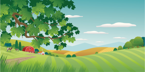 Graphic image of sunny countryside