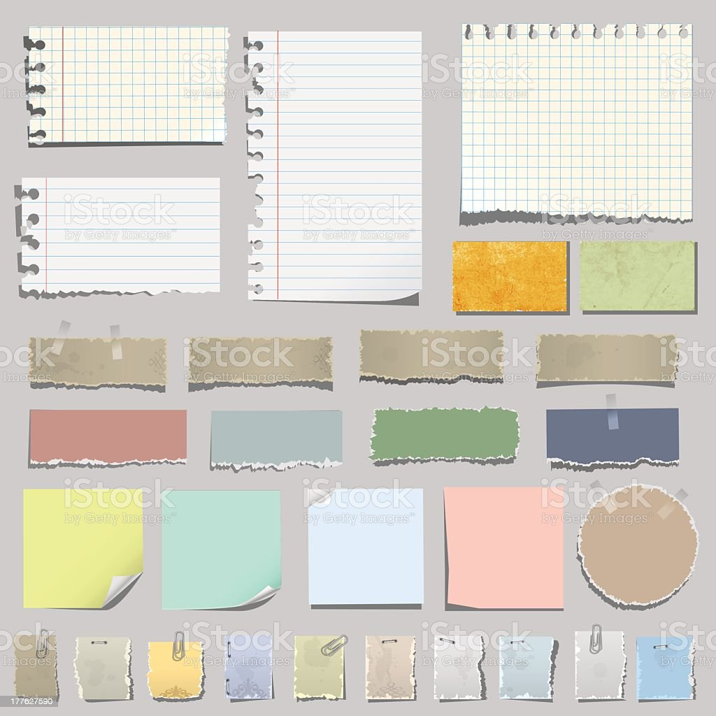 Graphic image of various types of note papers vector art illustration