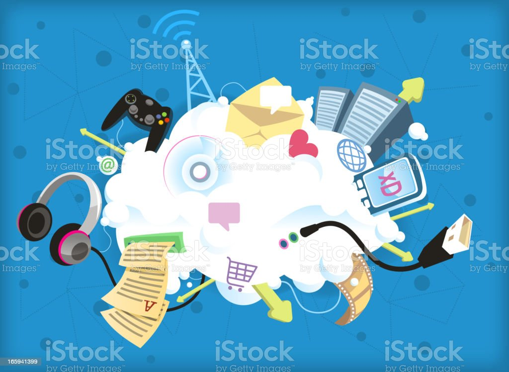 Graphic image showing parts of cloud computing royalty-free stock vector art