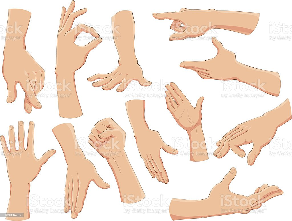Graphic images of hands in different poses vector art illustration