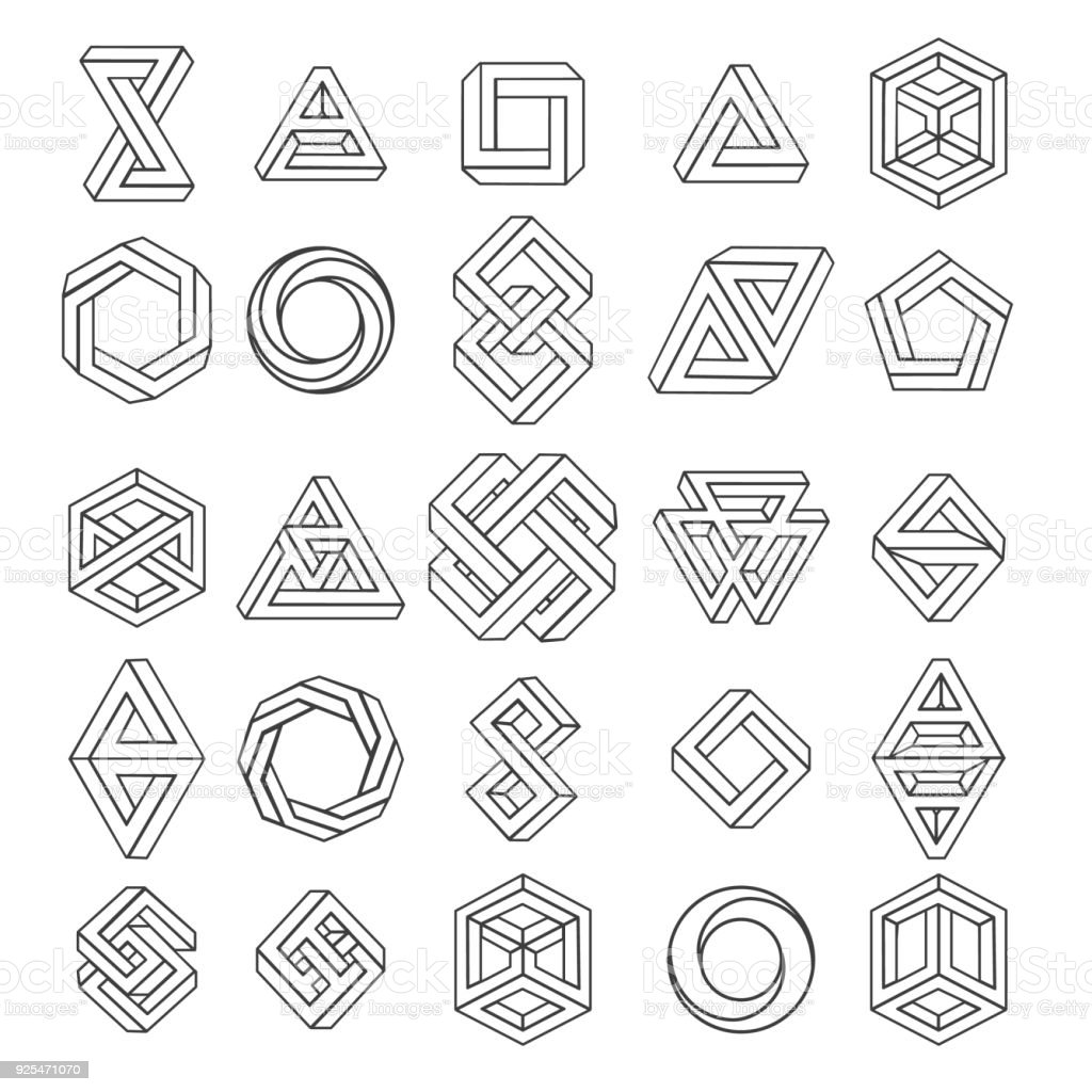 Graphic impossible shapes vector art illustration