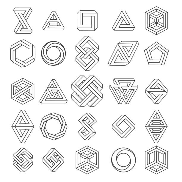 Graphic impossible shapes Graphic impossible shapes. Circle, square and triangle symbols with escher paradox impossible geometry geometric graphic, vector illustration dreamlike stock illustrations