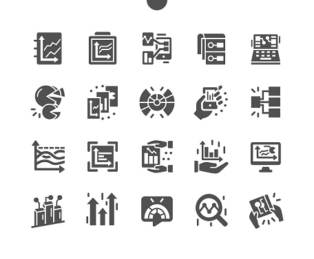 Graphic infographic dashboard. Web analytic information. Statistic charts for planning and accounting, analysis, audit, management, marketing. Vector Solid Icons. Simple Pictogram