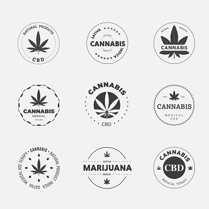 Graphic linear logo on a white background with sativa and indica cannabis leaf.