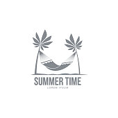 Black white, silhouette logo template with hammock hanging between two palm trees, vector illustration isolated on white background. Black white summer time logotype, logo template with tropical palms