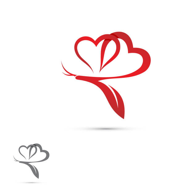 Graphic love heart butterfly icon modern symbol Graphic love heart butterfly icon modern symbol for graphic and web design. Heart icon simple sign. Vector illustration EPS.8 EPS.10 girlfriend stock illustrations