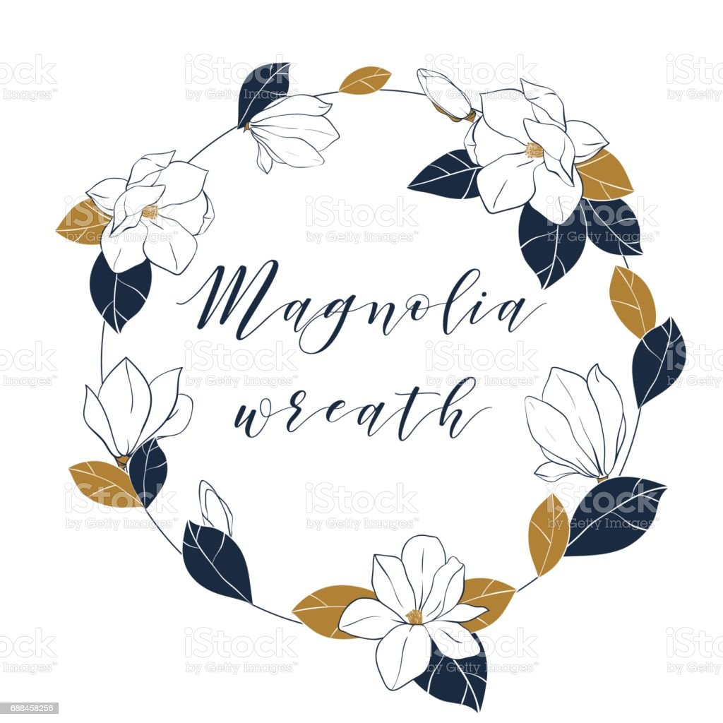 Graphic magnolia wreath in deep blue and bronze colors. Trendy vector hand draw illustartion with magnolia flowers,buds and leaves.Template for invitations, greeting cards, posters and more. vector art illustration