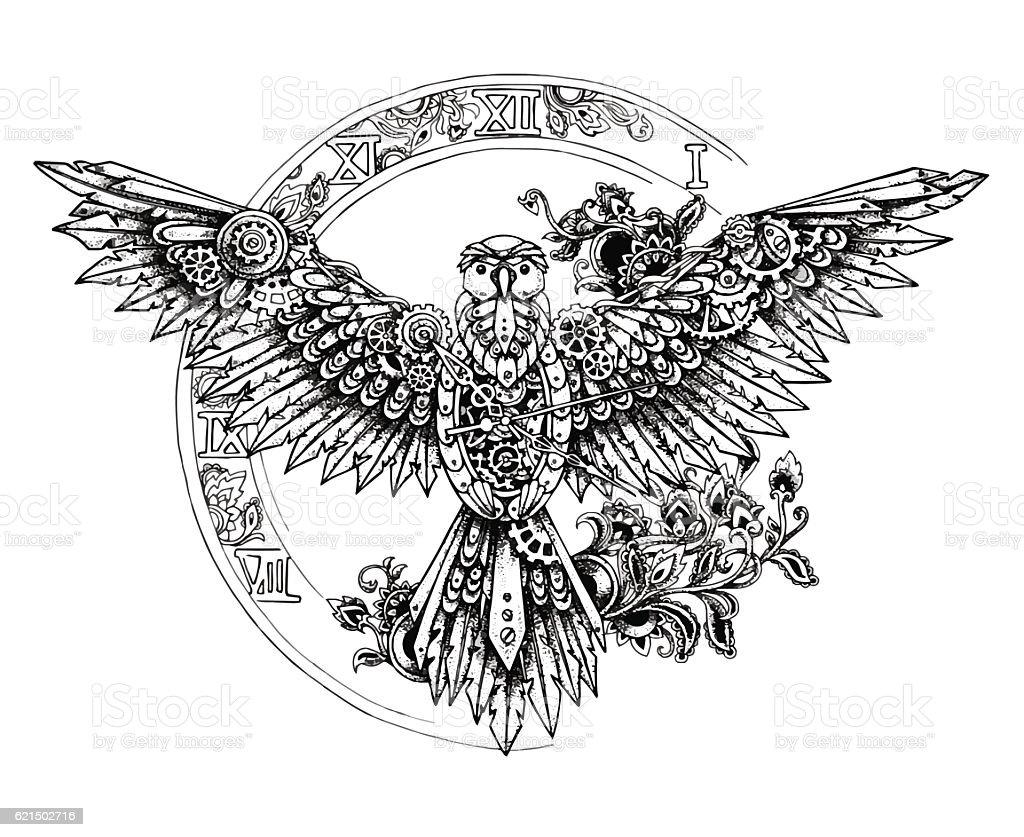 Graphic mechanical bird with spread wings on the big clock graphic mechanical bird with spread wings on the big clock – cliparts vectoriels et plus d'images de acier libre de droits